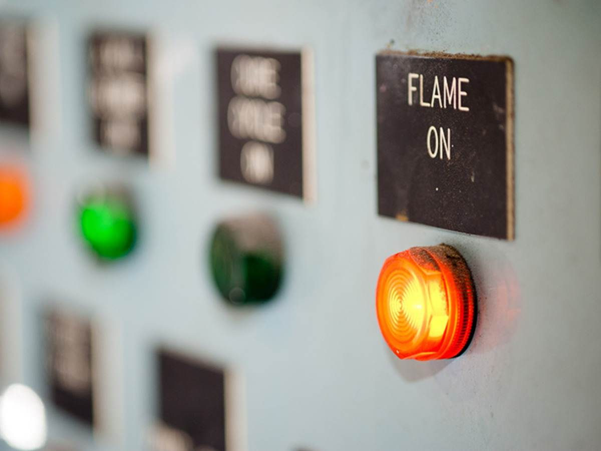 Control panel with Flame On button illuminated