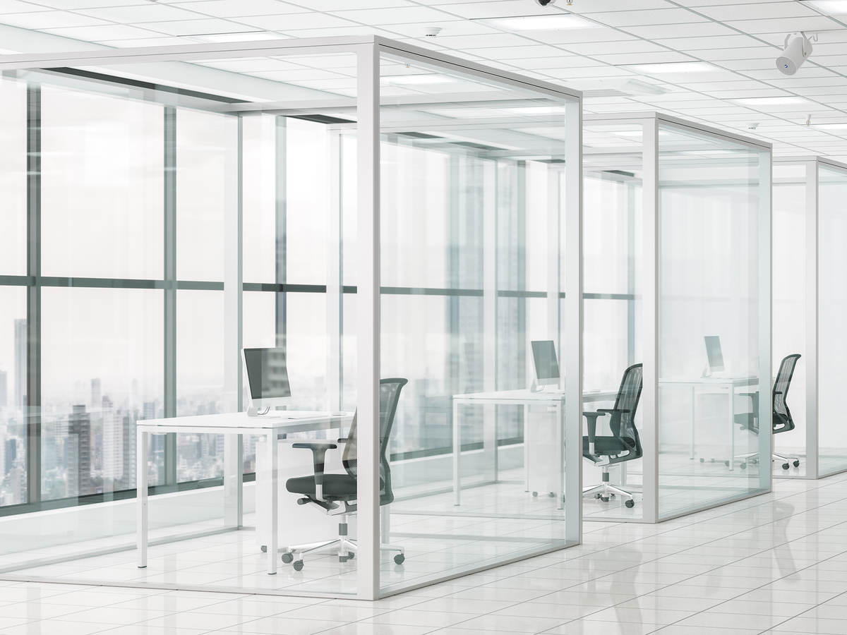 Safe workplace with social distancing cubicles