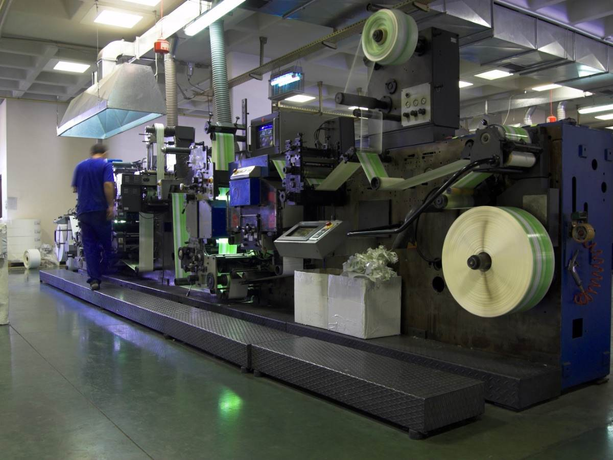 Industrial printer in factory setting