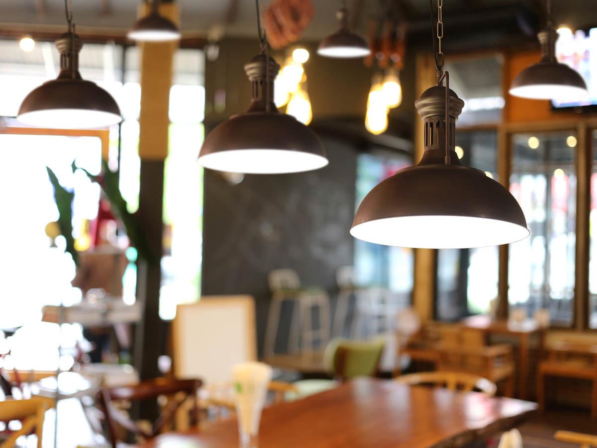 Lamps hanging in restaurant