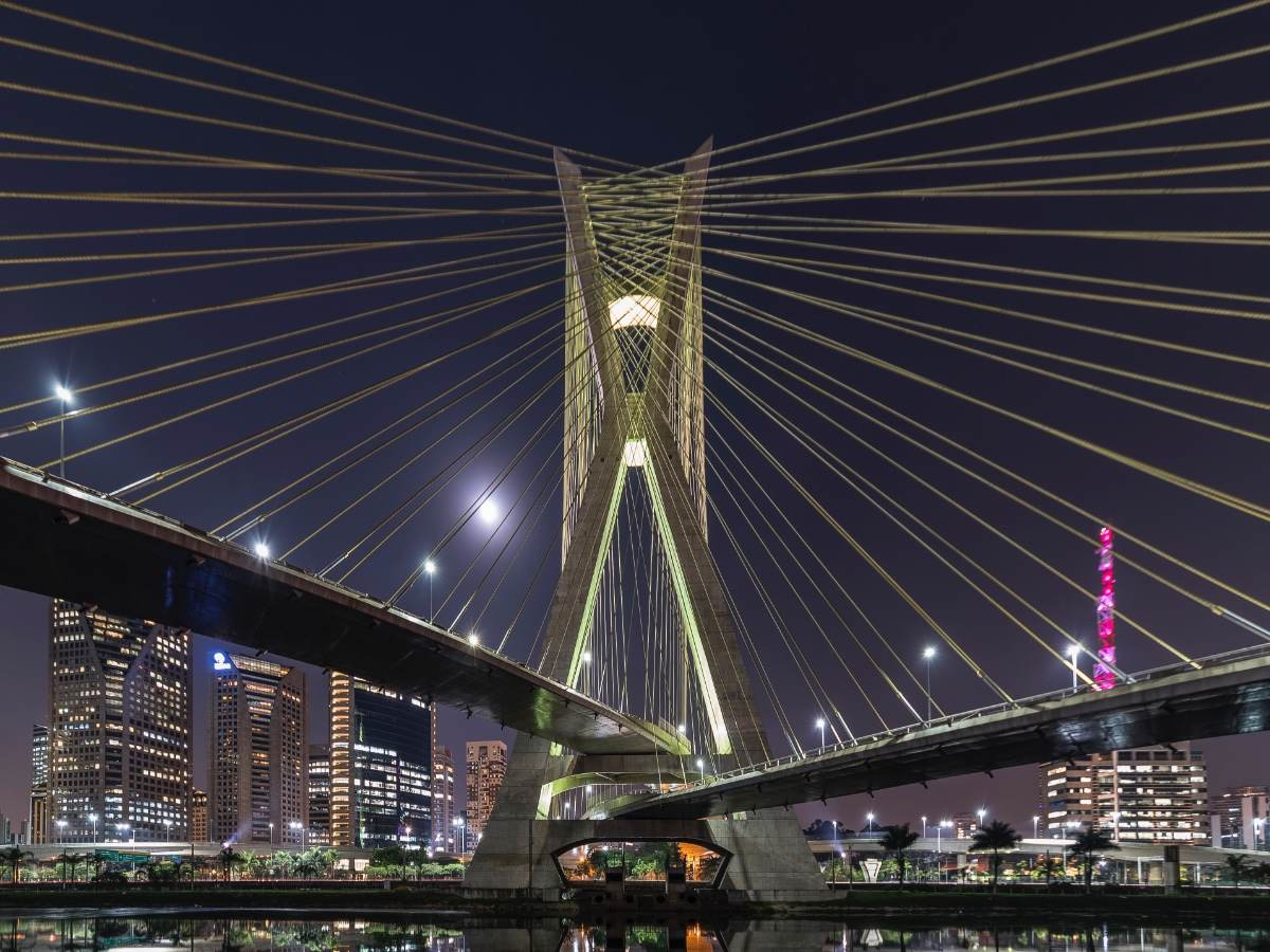 Cable-stayed bridge and cityscape, São Paulo, Brazil