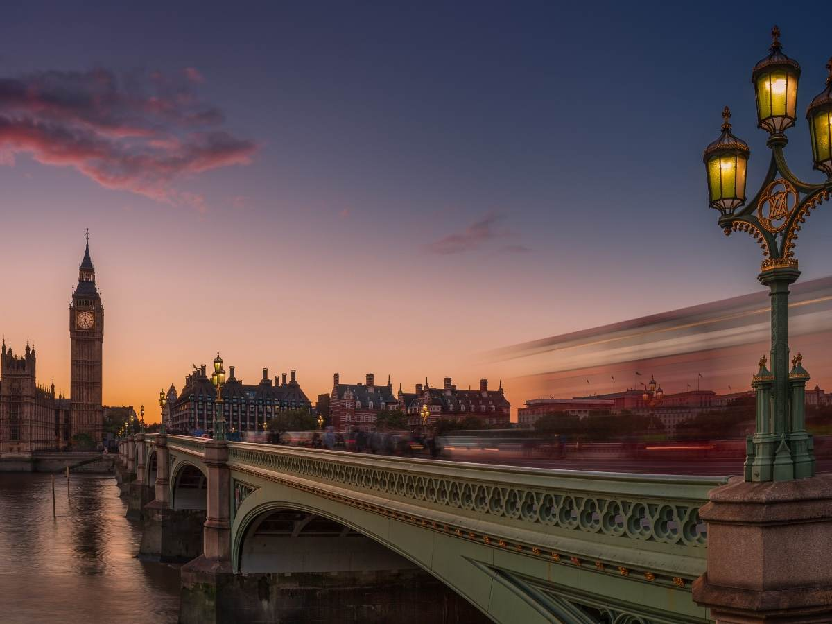 Big Ben and Westminster Bridge in the sunset