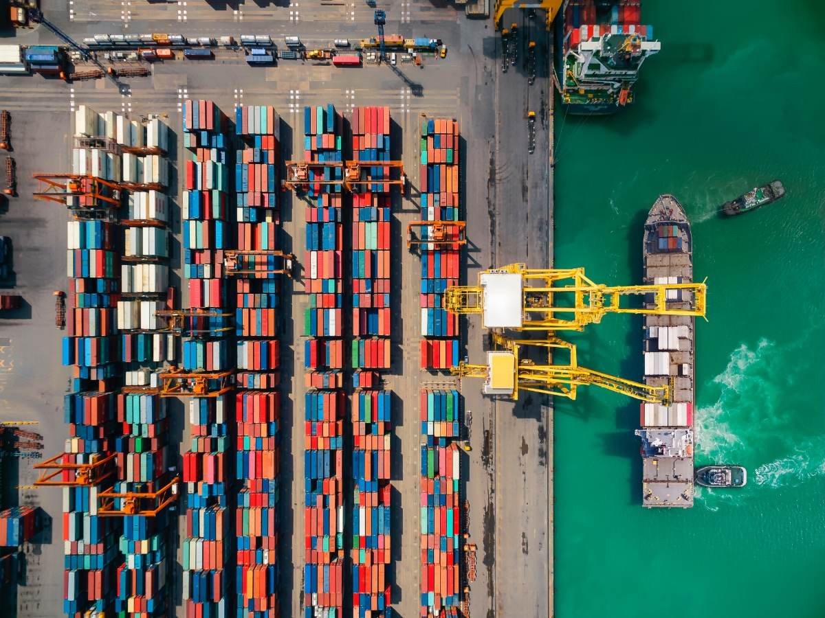 Aerial view of shipping containers on a transport dock