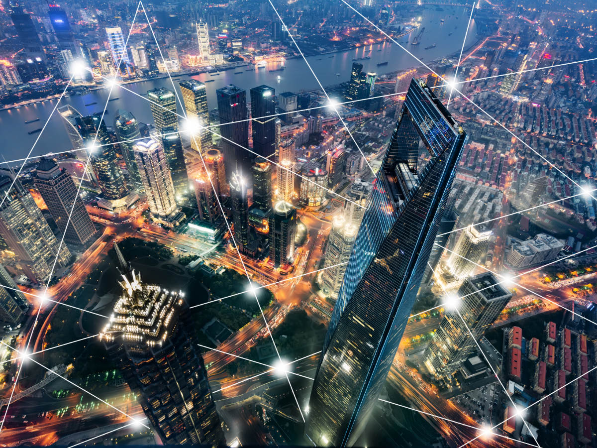 Smart city with connected line Wi-Fi icon and network