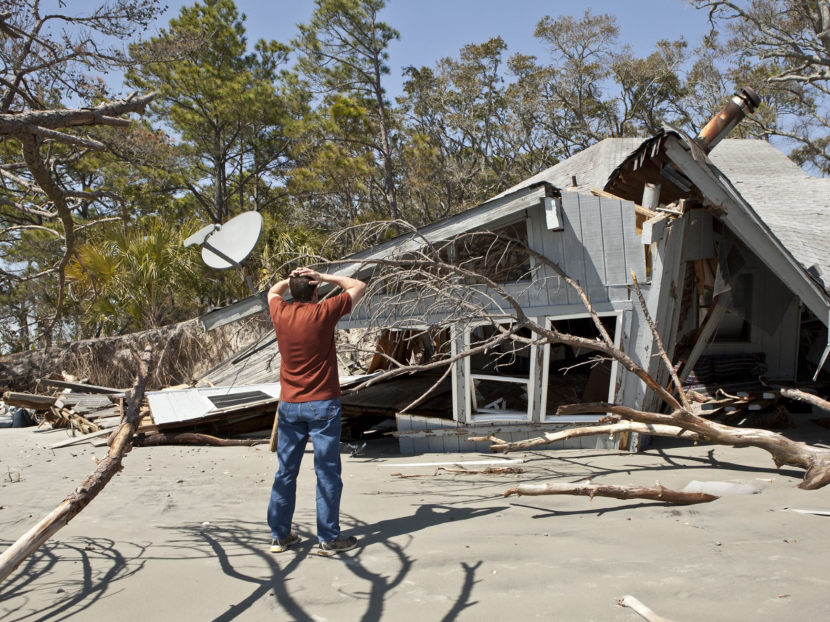 Collapsed house after storm