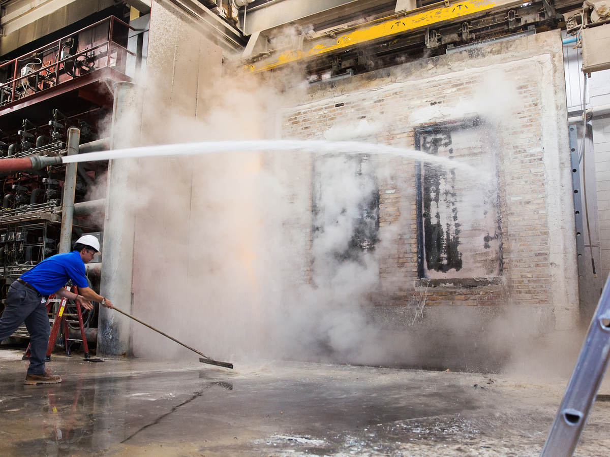 Hose stream testing for impact on fire door