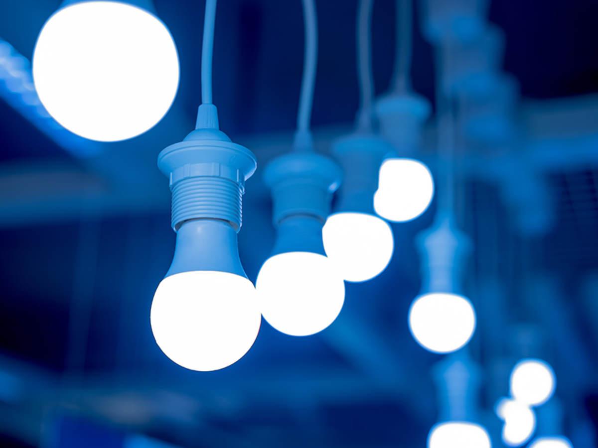 LED lightbulbs hanging from ceiling