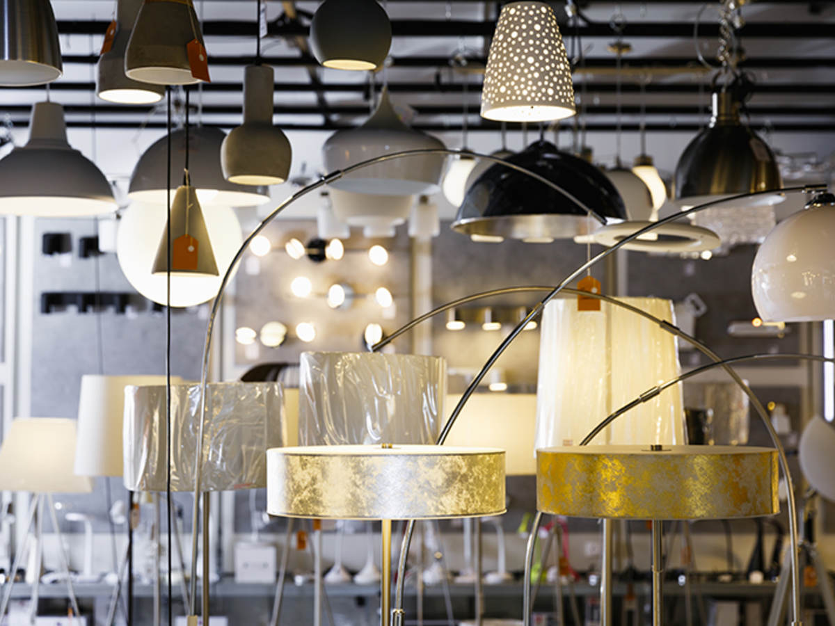 Variety of lamps and lighting fixtures in a store