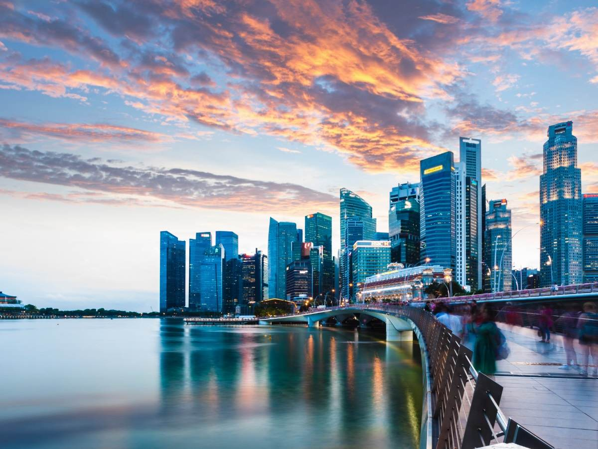 Skyline of Singapore during sunset