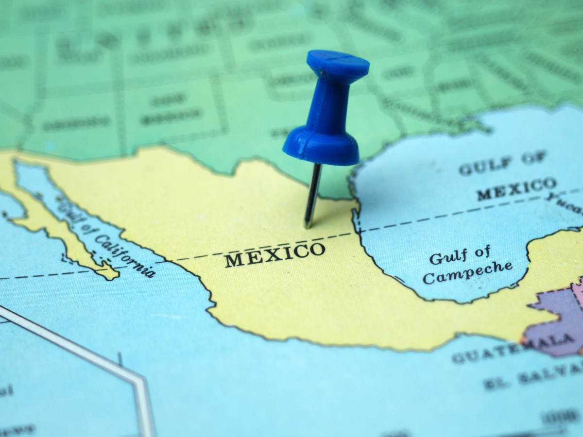 Map of Mexico with pushpin marking the spot