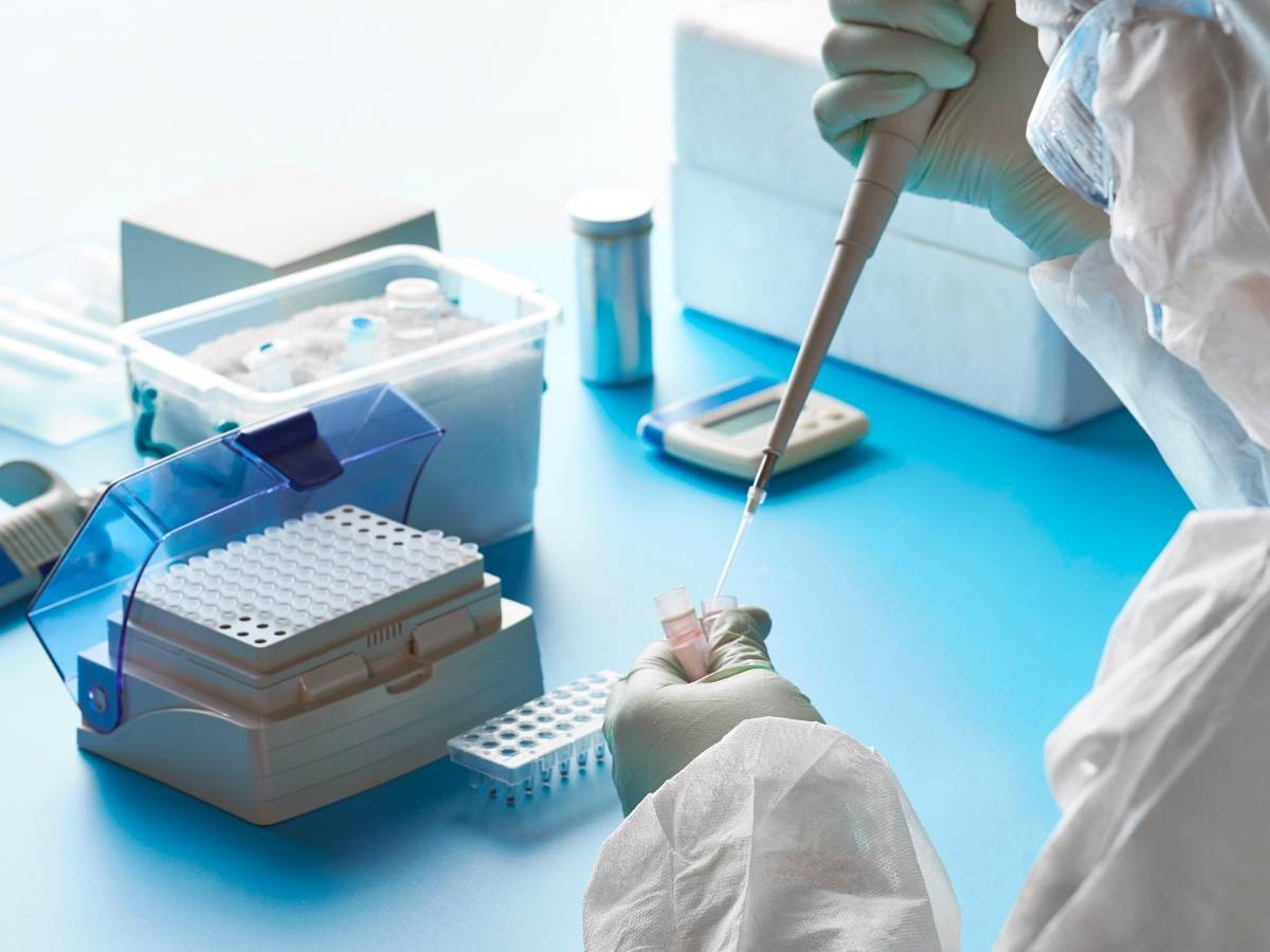 Lab worker testing product