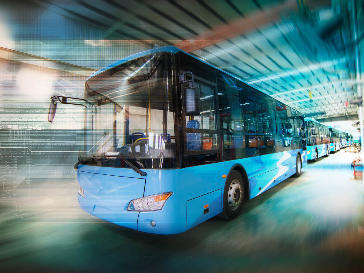 Blue Bus In a Tunnel