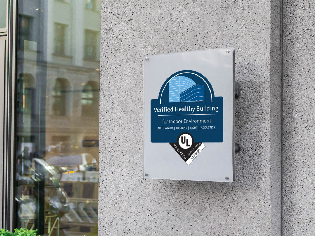 The Verified Healthy Building plaque on a building exterior