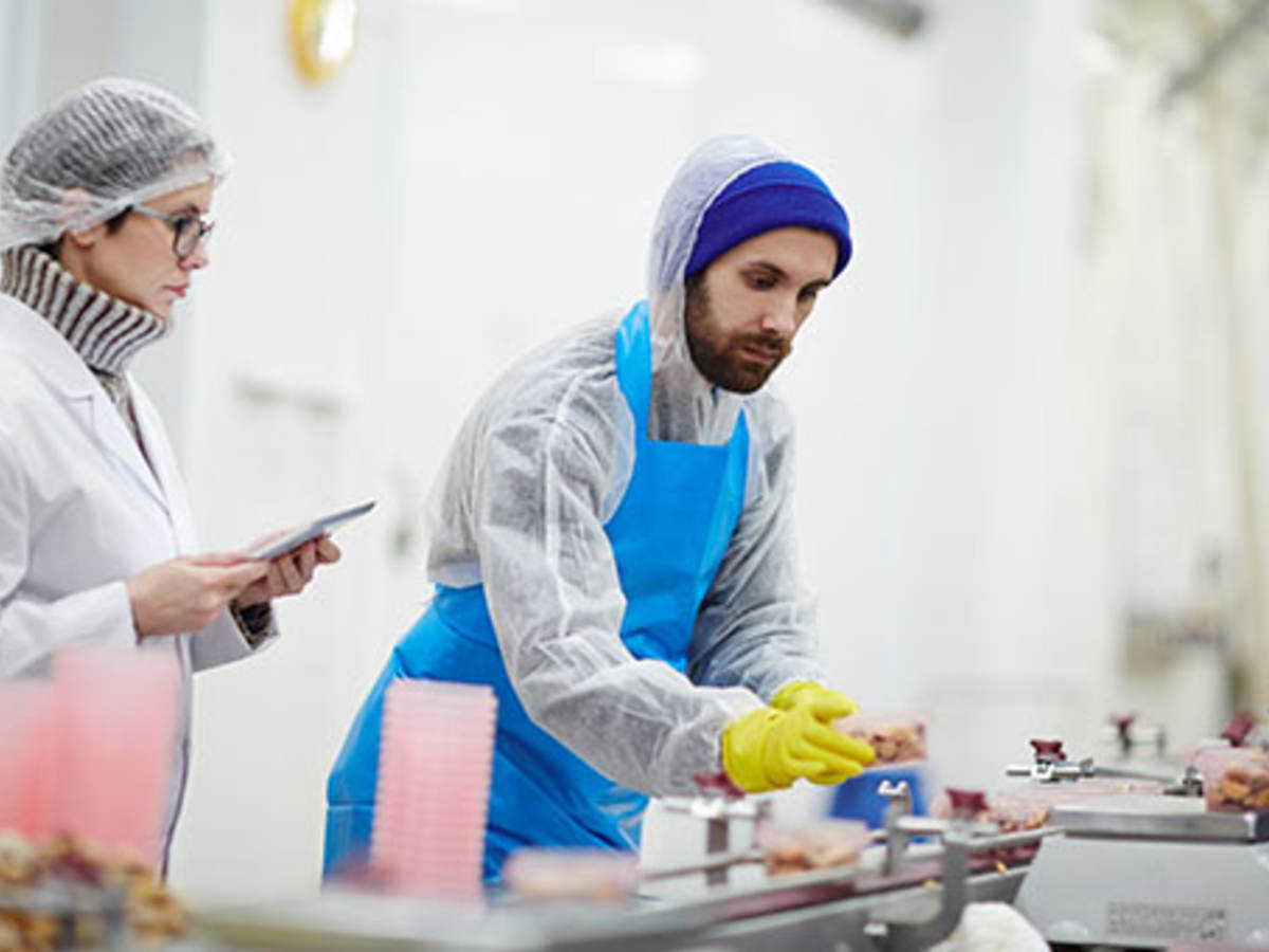 Man with blue beanie looks over food contact materials