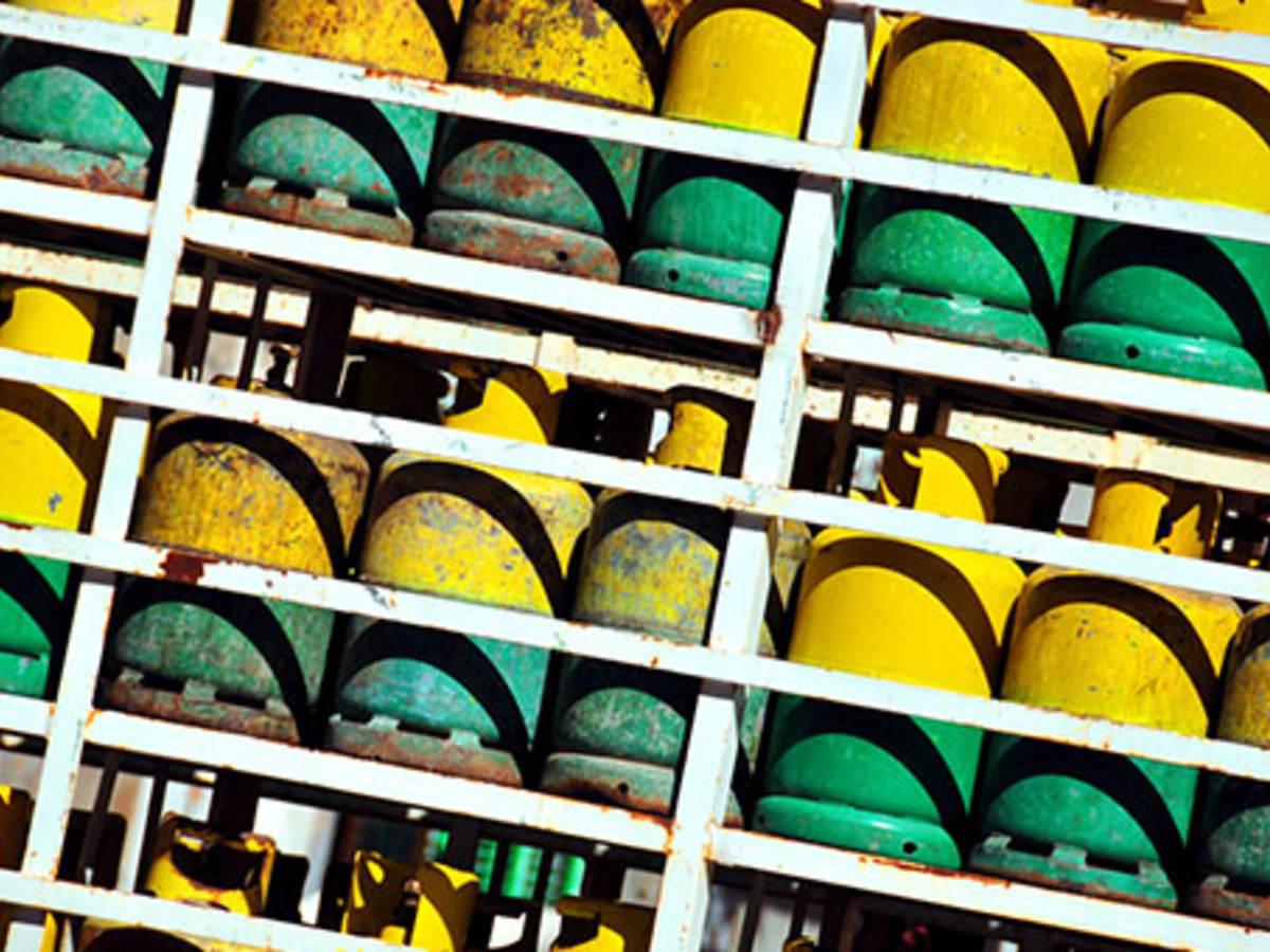 Green and yellow propane tanks