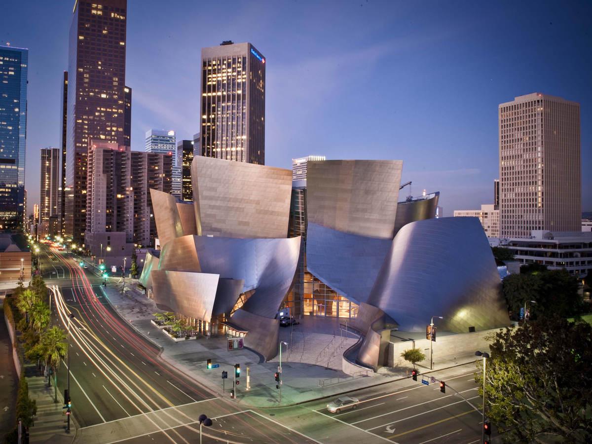 Walt Disney Concert Hall and busy LA Street