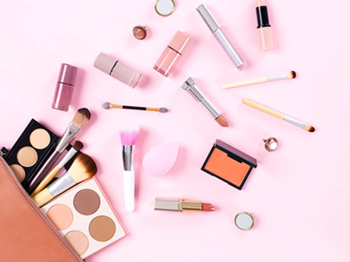 Make-up cosmetics spread over surface
