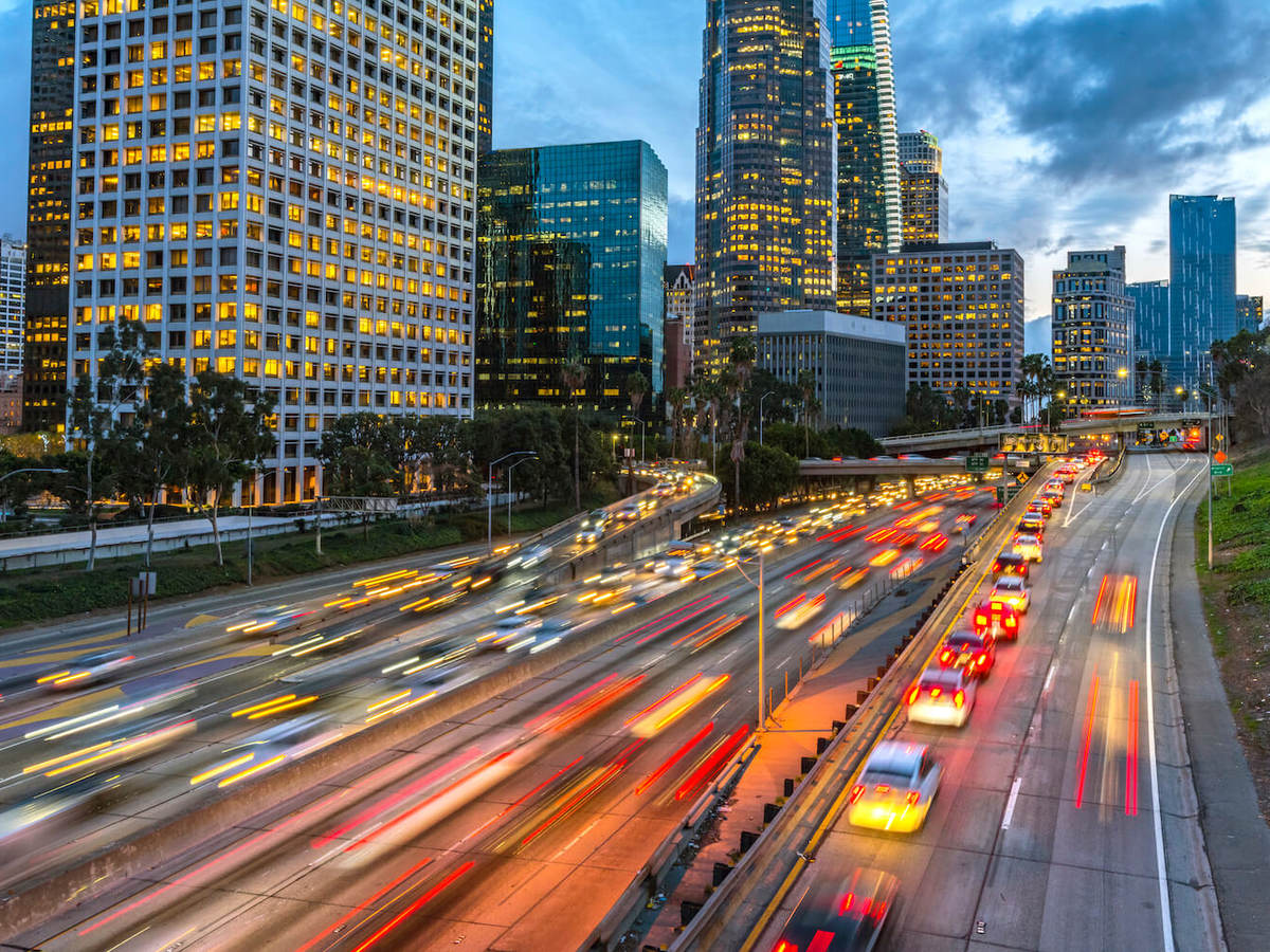 blurred image of Los Angeles, California, traffic