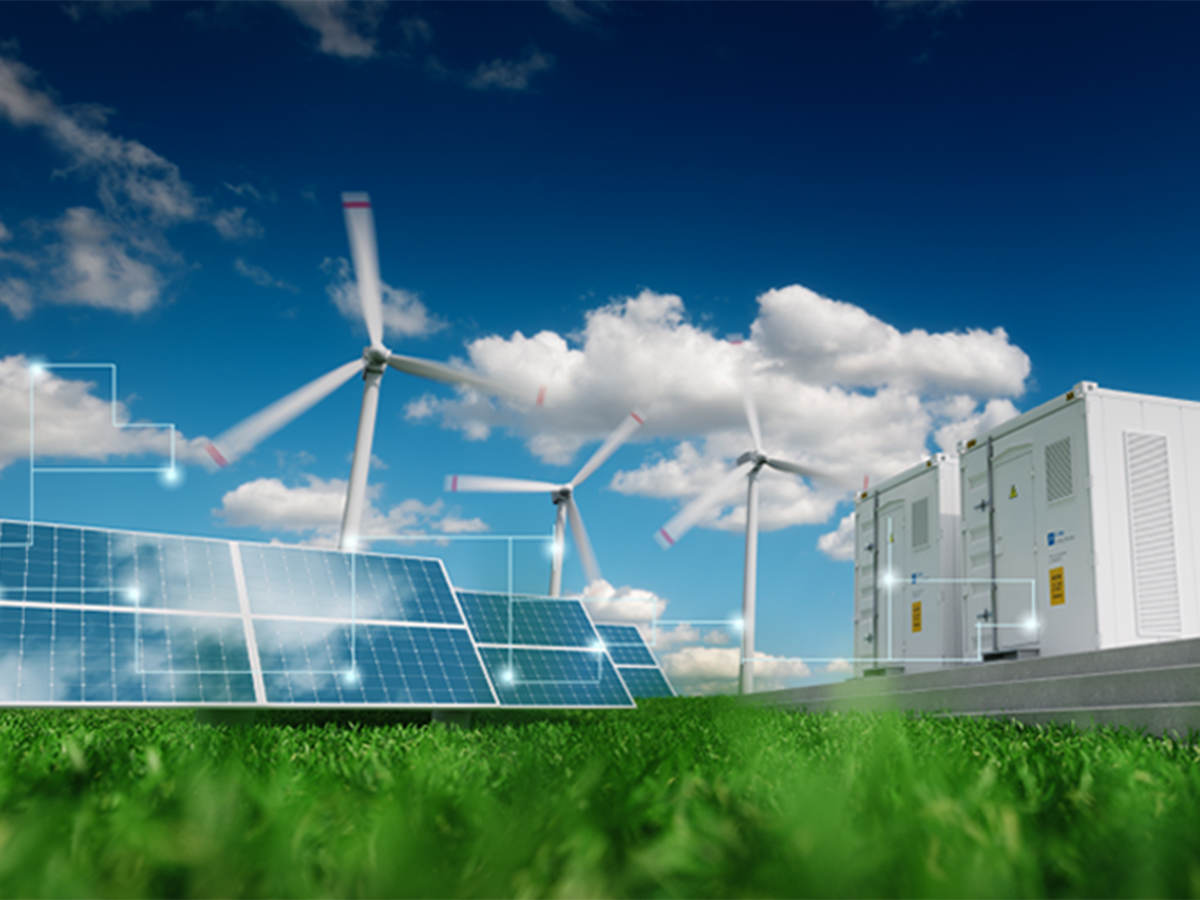 Illustration of solar, wind and energy storage for a distributed energy system.