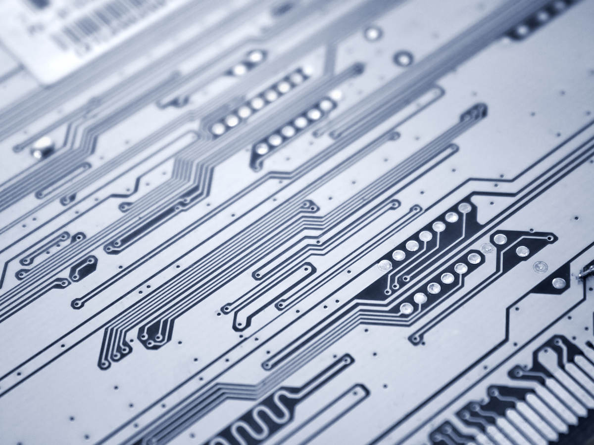 Close-up view of a printed circuit board.