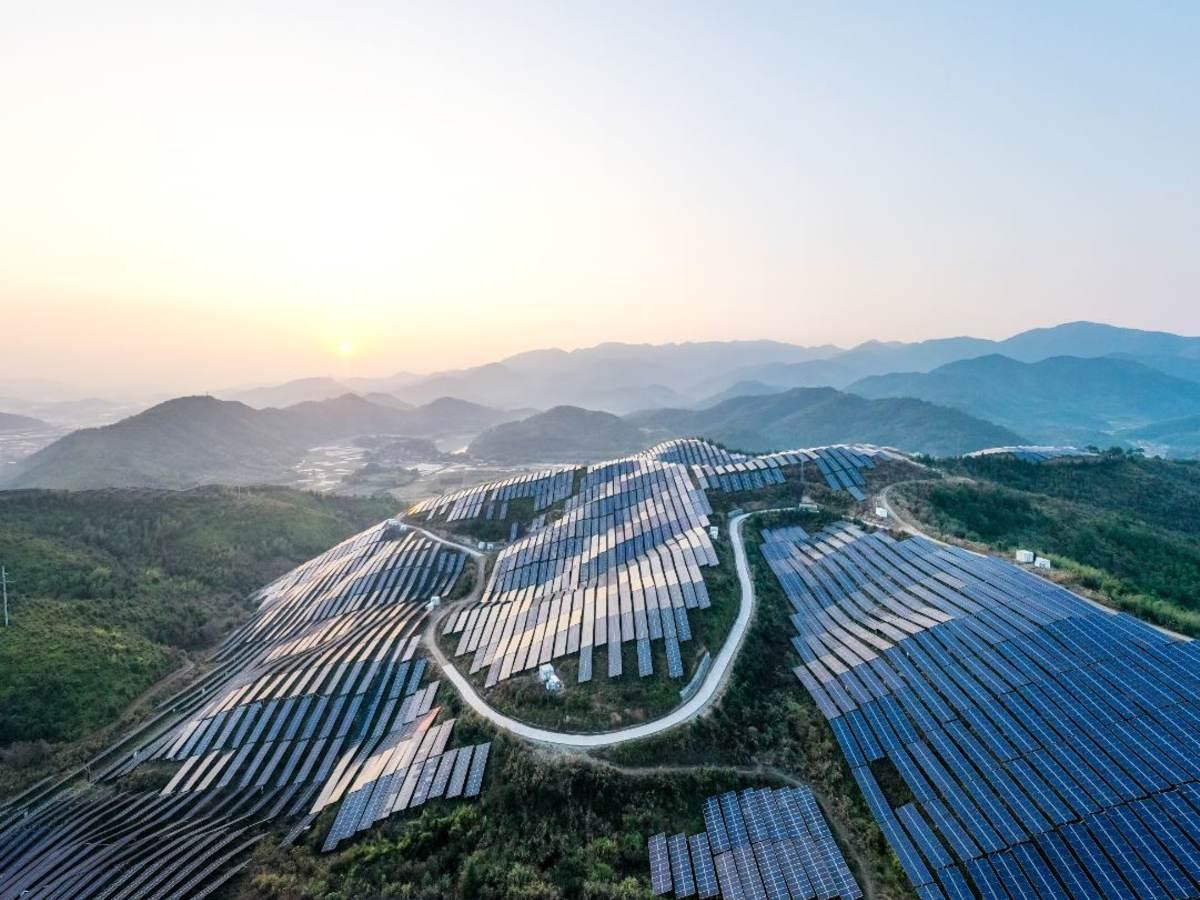 Solar Power Plant On a Mountainside