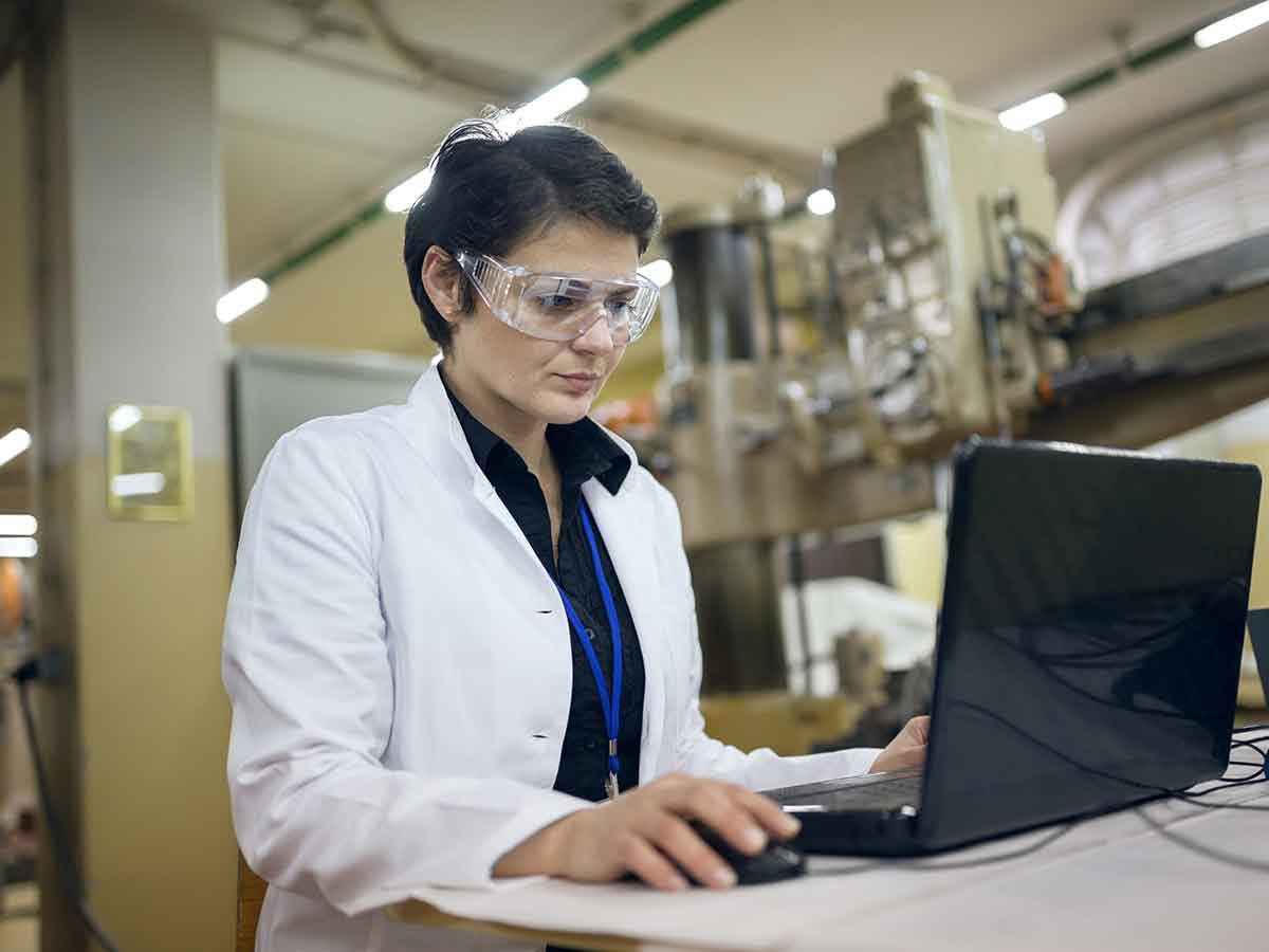 Lab worker using computer