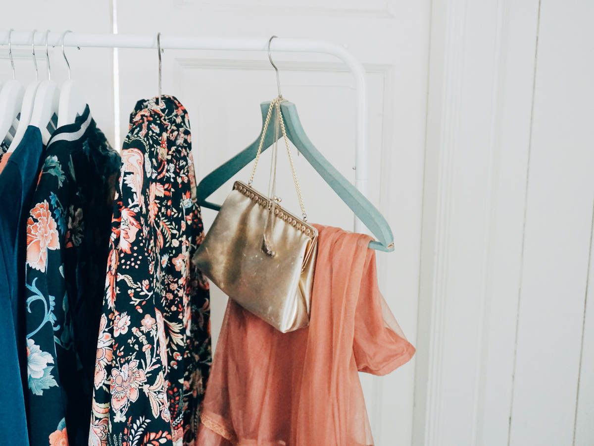 Apparel and accessories in a fashion shop