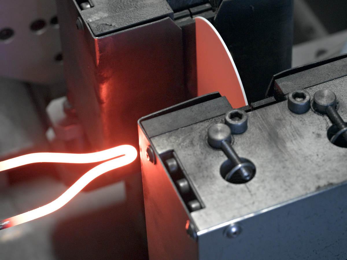 Close-up of flammability testing inside laboratory
