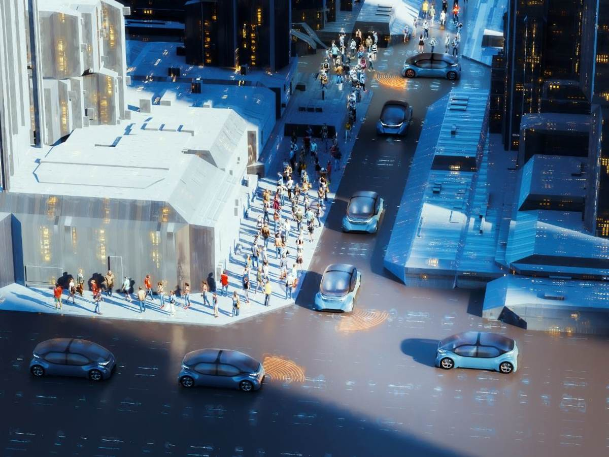 Urban street block with autonomous vehicles