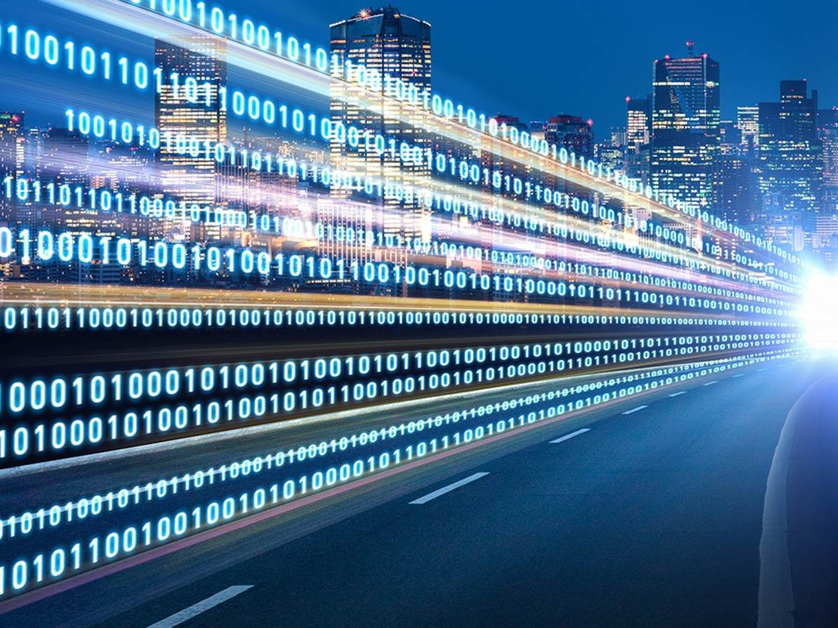 City highway at night with binary graphic