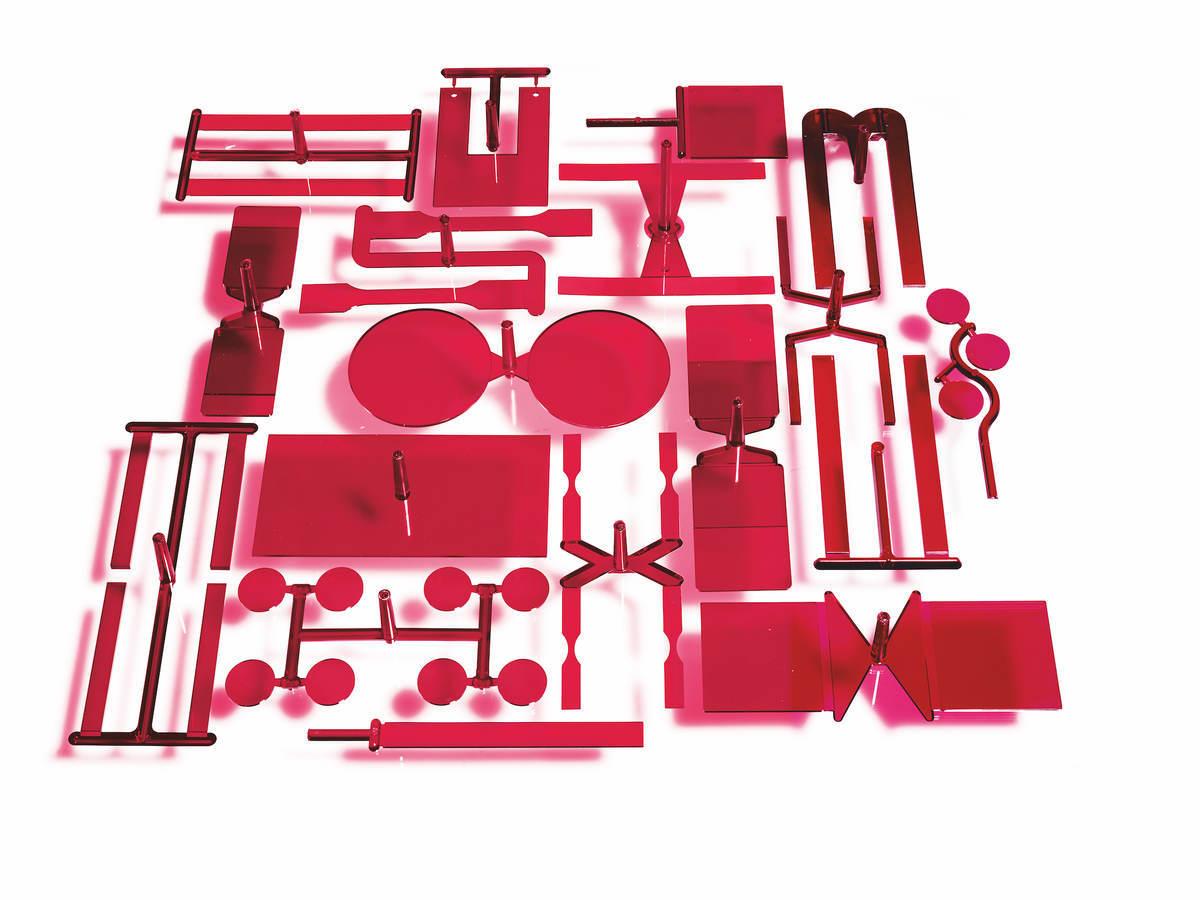 Transparent, red plastic parts