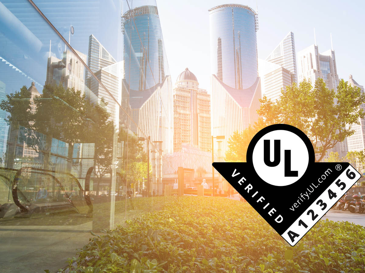 The UL Verified Mark over a brightly lit cityscape.