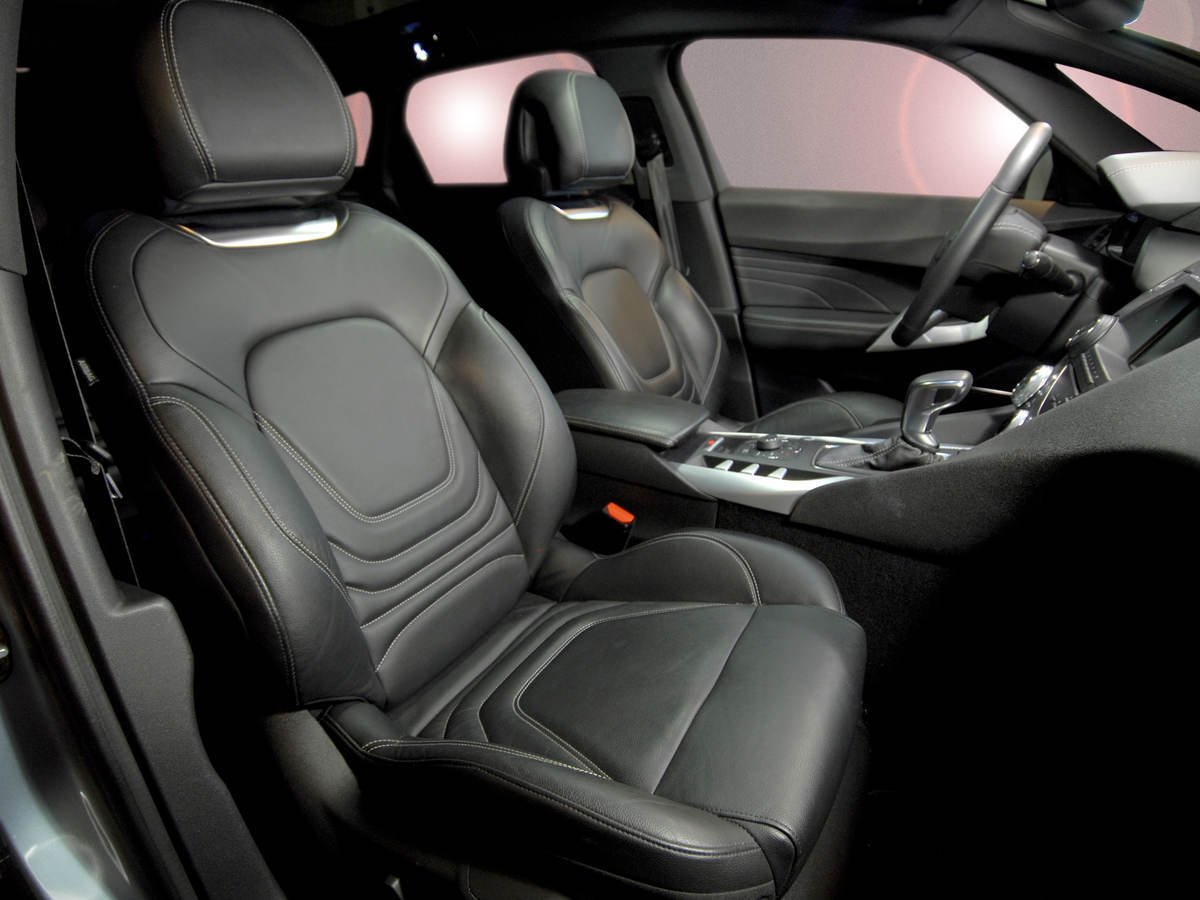 Leather seats for the interior of a black car