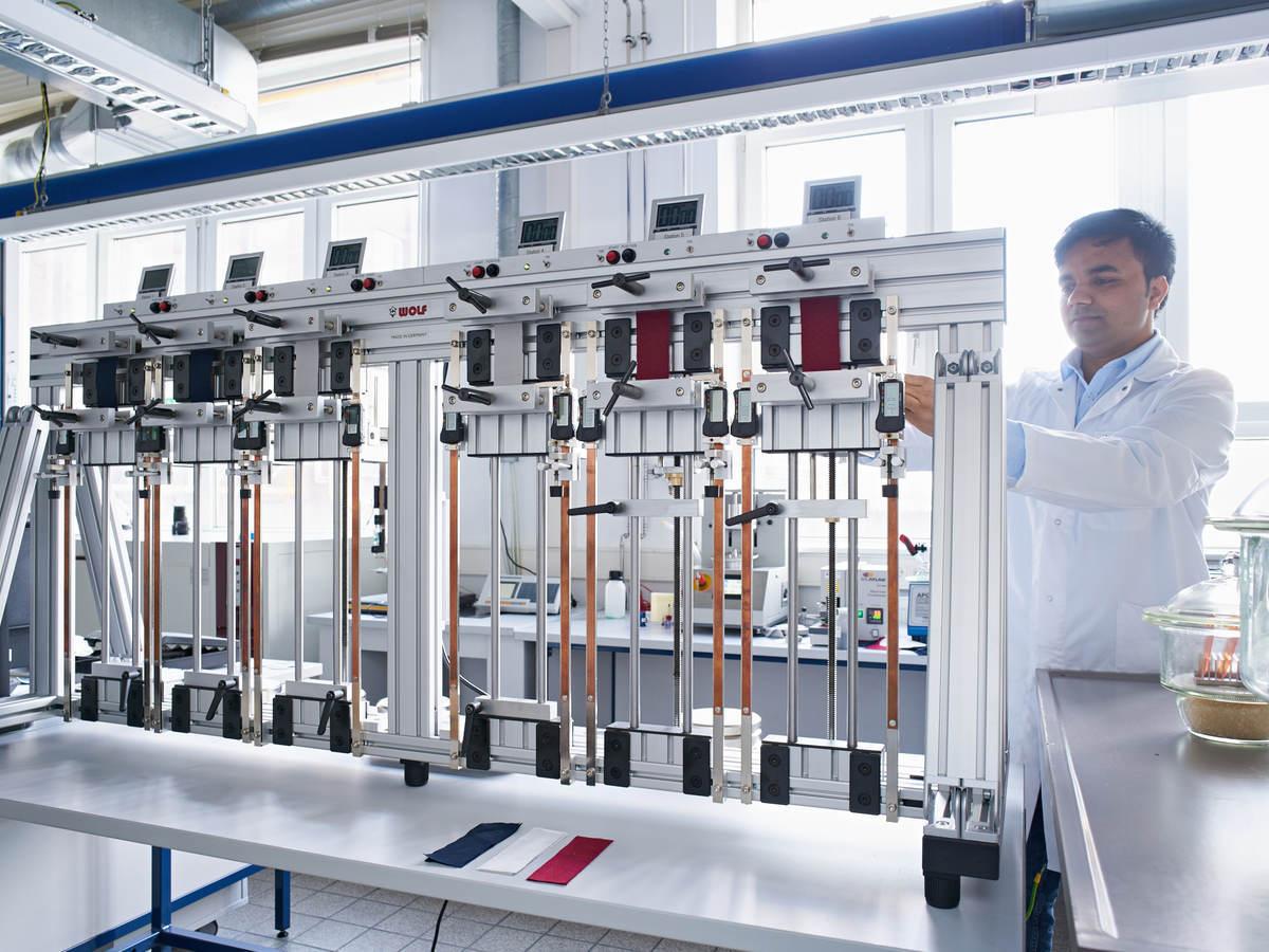 Lab tech conducting textile testing