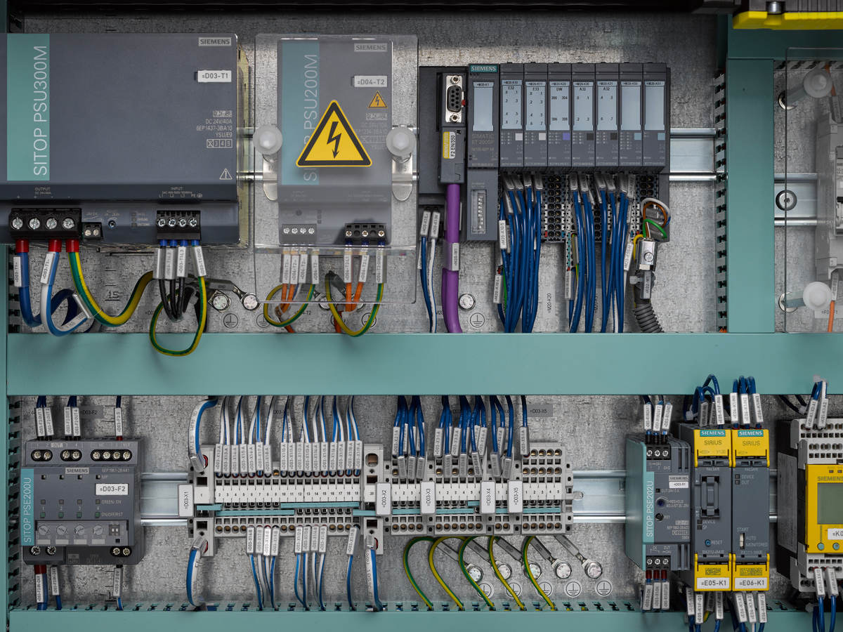 Up close detail of industrial control panel