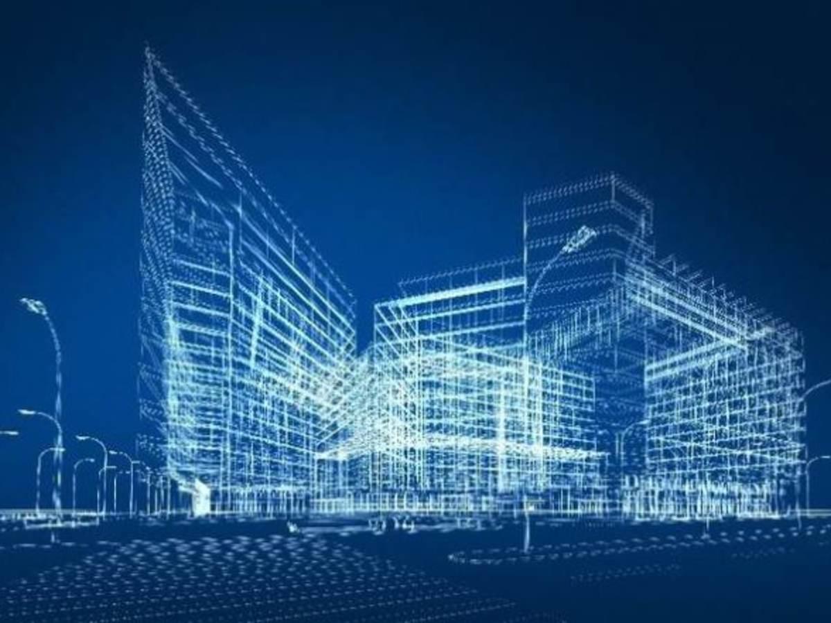 transparent midrise building with dark blue backgroun