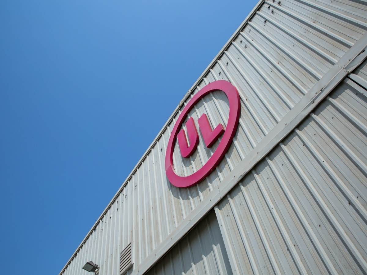 UL logo on exterior of building