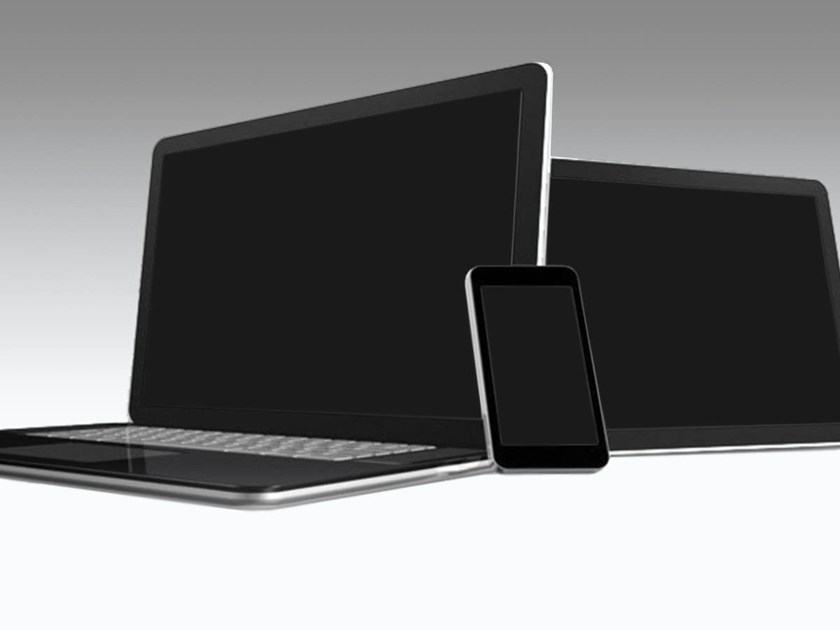 Blank phone tablet and laptop on white background