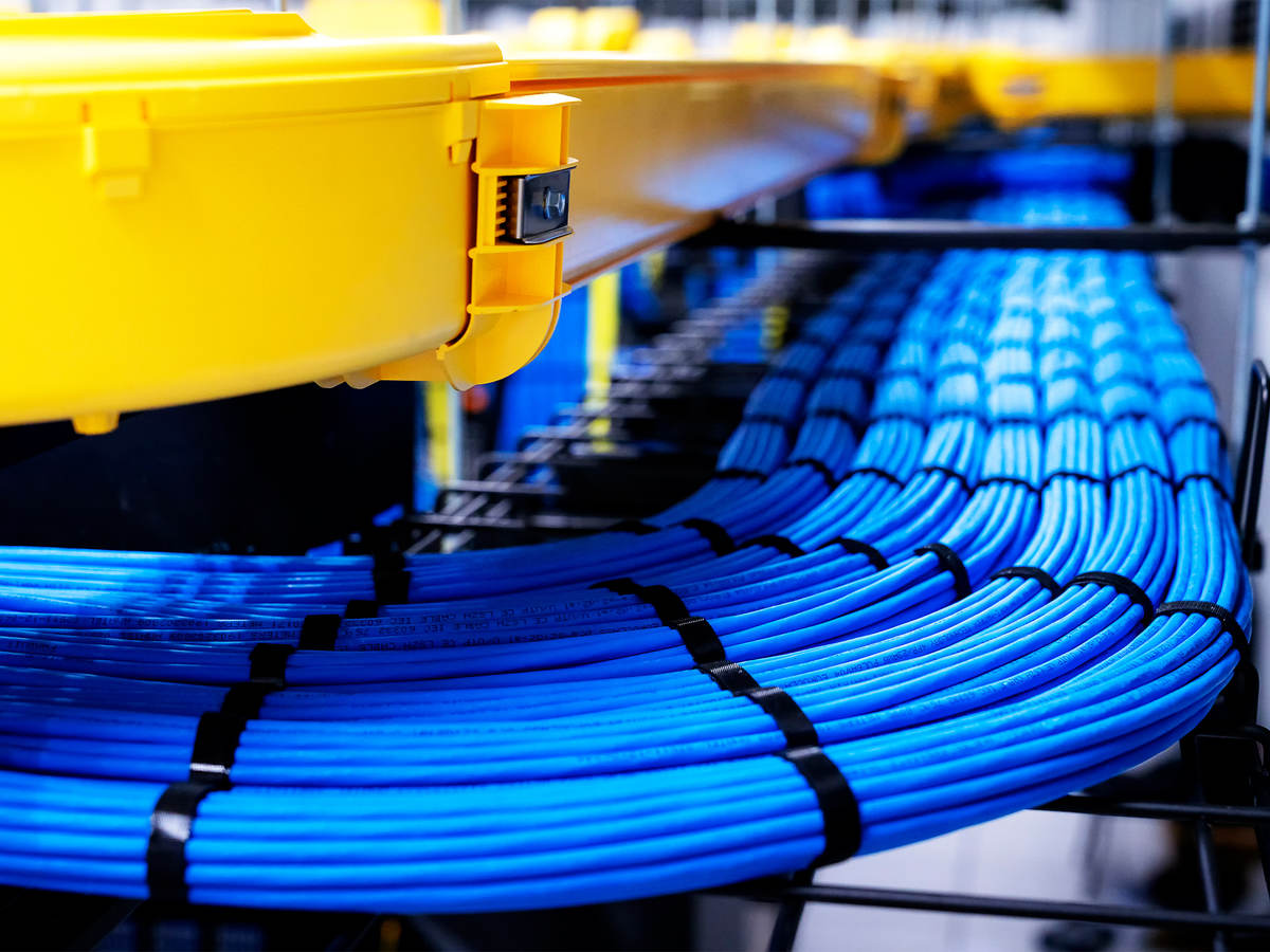 Blue network cable in Data Center