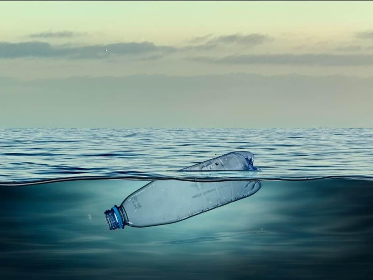 plastic bottle in ocean