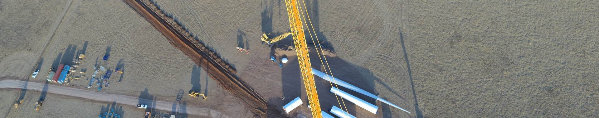 Aerial view of the construction of the Goldwind wind turbine in West Texas