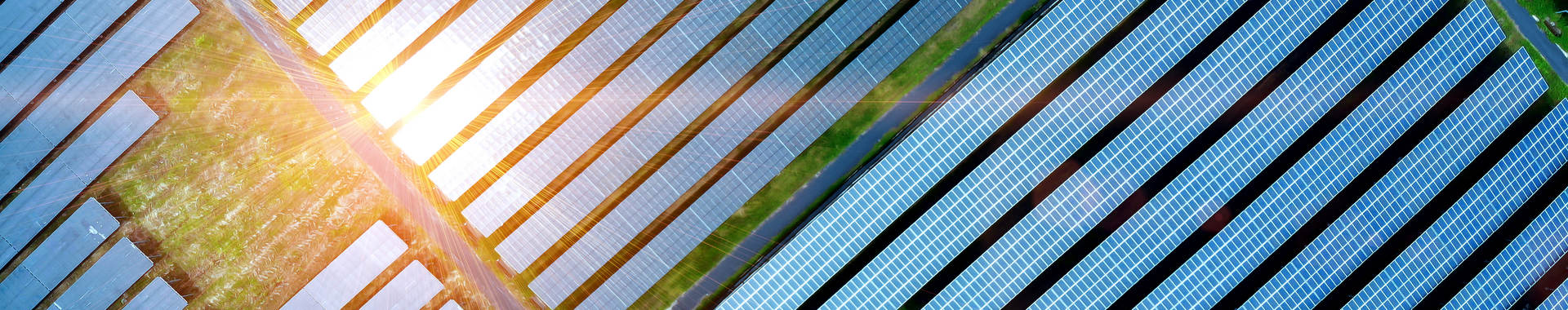 Aerial view of solar cell field