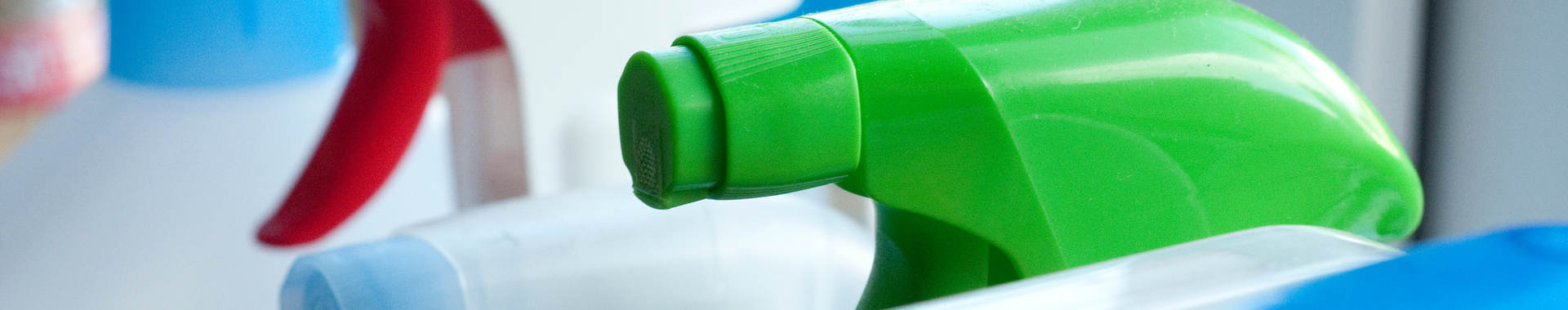 Cleaning solutions in spray bottles