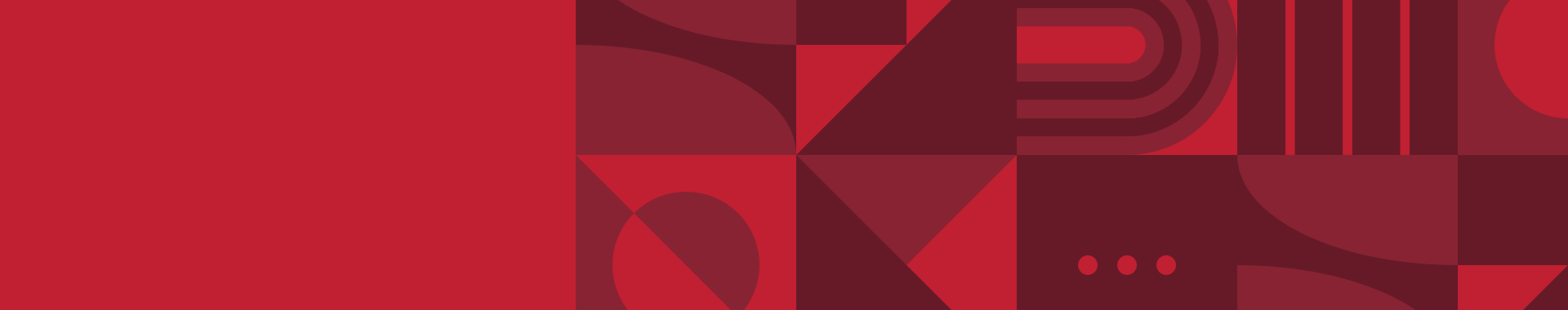 A red patchwork of abstract shapes