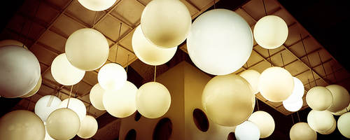 Lighting balls hanging from the ceiling