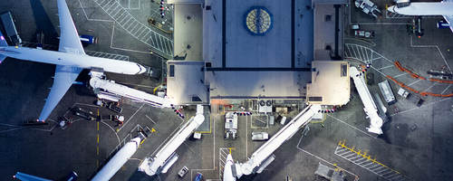 overhead view of an airport
