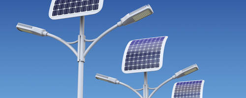 solar-powered streetlights shown in the daylight with blue sky background