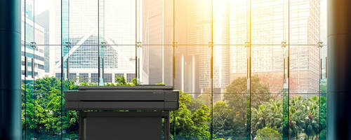 Photo of an HP Design Jet T600 in front of windows with sun shining through